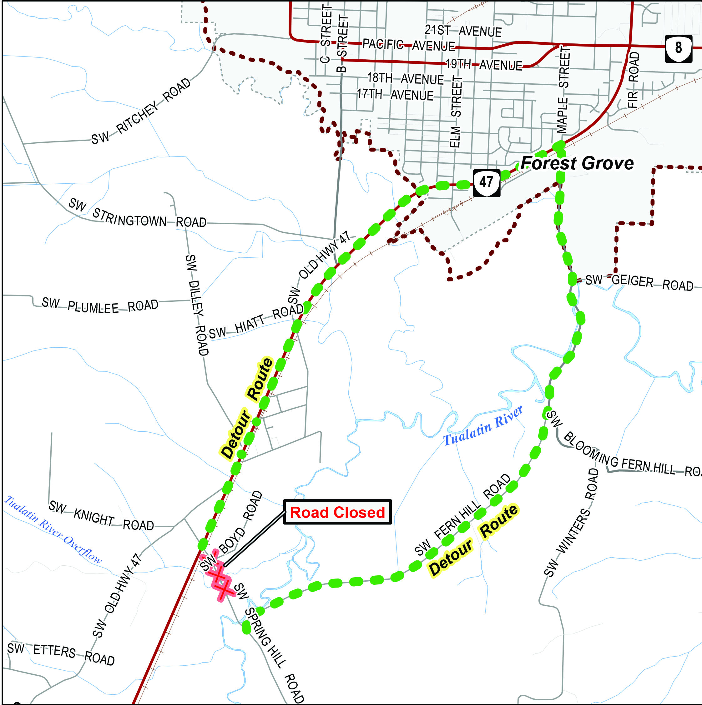 Spring Hill Road Bridge Construction Begins | Forest Grove Oregon on il road closures map, ill weather map, illinois road map,