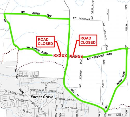 Verboort and Purdin roads to close July 79 Forest Grove Oregon